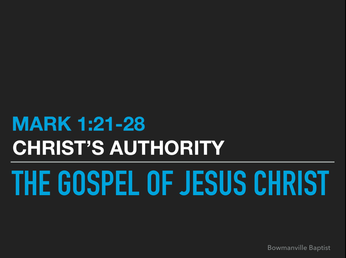 sermon on mark 1 21 28 The gospel of mark a teacher with authority (1:21-28) introduction 1  up to this point in mark's gospel, everything has been preliminary a.